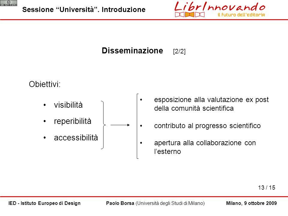 Disseminazione [2/2] Obiettivi: visibilità reperibilità accessibilità
